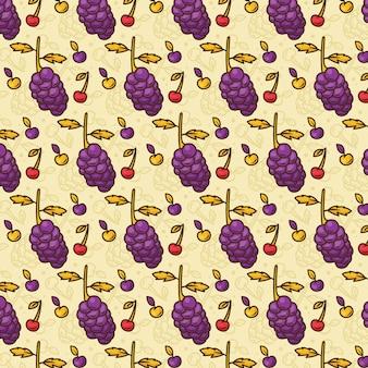 Wzór owoców tropikalnych winogrono, wiśnia, pomarańcza