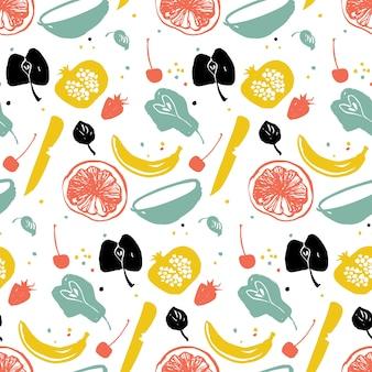 Wzór owoców z gruszką, bananem, cytrusami i granatem. zdrowy styl życia. rynku rolników. niebieski, czerwony i żółty