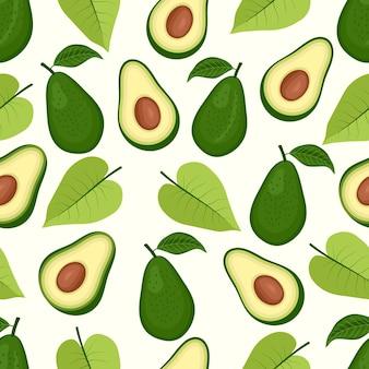 Wzór owocu awokado z tropikalnymi liśćmi