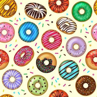 Wzór pączki. smaczny deser piekarnia kolorowe bezszwowe tło. ilustracja wzór pączka, piekarnia pyszne polewa