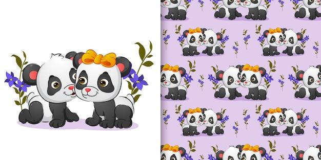 Wzór pary baby panda pełzają w parku