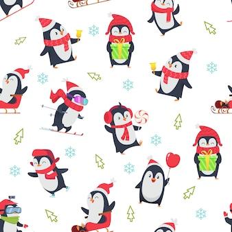 Wzór pinguin. kreskówka tekstylny projekt z zimowym śniegiem dzikich zwierząt w różnych pozach akcji