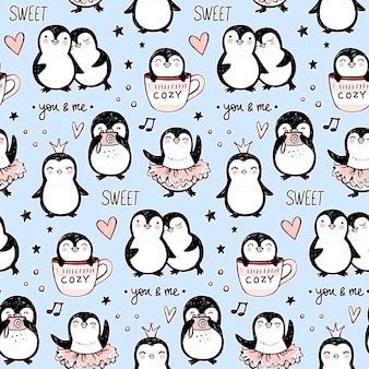 Wzór pingwina. tło śmieszne zwierzęta. kreskówka ręcznie rysowane tekstury z uroczymi postaciami. doodle styl.