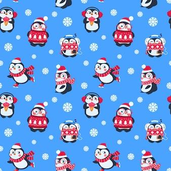 Wzór pingwiny. śliczny świąteczny pakiet z zabawnym pingwinem. tło włókienniczych zimowe wakacje