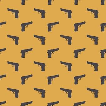 Wzór pistoletów na białym tle. ilustracja w stylu kreatywnym i wojskowym