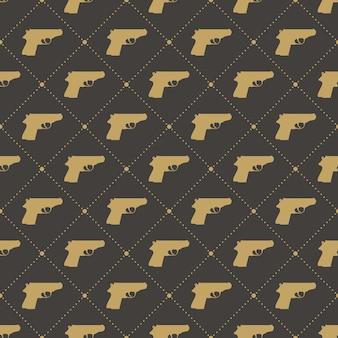 Wzór pistoletów na czarnym tle. ilustracja w stylu kreatywnym i wojskowym