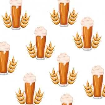 Wzór piwa z ikoną pianki i pszenicy