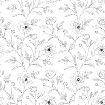 Wzór piwonia kwiatowy ręcznie rysowane ilustracja z grafiką na białym tle.