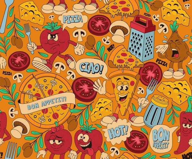 Wzór pizzy, tło z różnymi postaciami z kreskówek na temat pizzerii