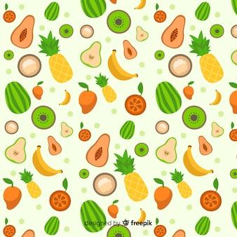 Wzór płaskich owoców tropikalnych