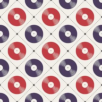 Wzór płyt winylowych, ilustracja muzyczna. kreatywna i luksusowa okładka