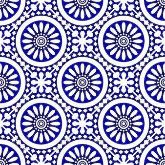 Wzór płytek ceramicznych, porcelanowa niebiesko-biała tapeta dekoracyjna. wzór płytek w stylu vintage