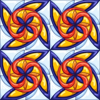 Wzór płytek ceramicznych. typowe ozdobne portugalskie lub włoskie płytki ceramiczne. dekoracyjne streszczenie tło. bezszwowe wektor retro.