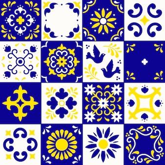 Wzór płytek ceramicznych z ornamentami kwiatów, liści i ptaków w tradycyjnym stylu