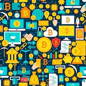 Wzór płytki bitcoin. ilustracja wektorowa bezszwowe tło. pozycje finansowe kryptowaluty.