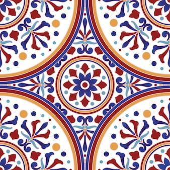 Wzór płytki ceramicznej meksykańskiej talavera, wystrój ceramiki włoskiej, portugalski wzór azulejo, kolorowy ornament z majoliki hiszpańskiej, piękny indyjski i arabski