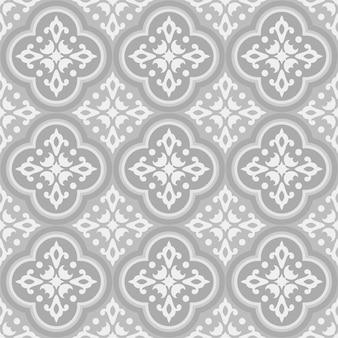 Wzór płytki ceramicznej meksykańskiej talavera, wystrój ceramiki włoskiej, portugalski wzór bez szwu azulejo, vintage ornament majoliki hiszpańskiej, szaro-brązowa tapeta antyczna