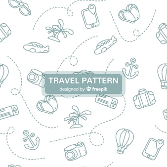 Wzór podróży z elementami i kreskowymi liniami