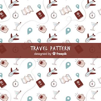 Wzór podróży z elementami i linią przerywaną