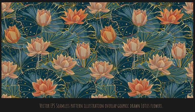 Wzór pokryte ilustracja ręcznie rysowane sztuki kolorowy kwitnący lotos.