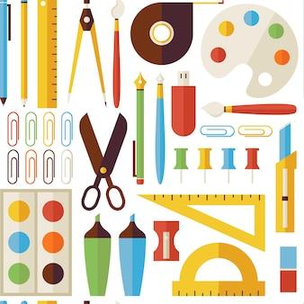 Wzór powrót do przedmiotów szkolnych i instrumentów biurowych. płaski styl wektor tekstura tło. kolekcja szablonów nauki i edukacji. uniwersytet i kolegium