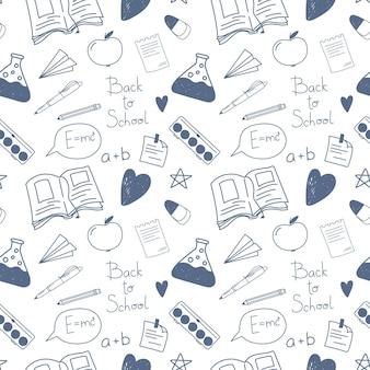 Wzór powrót do szkoły ręcznie rysowane doodle wektor symbole szkolne zabawny szkic izoluje