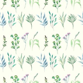 Wzór próbki akwarela niebieski i zielony liść