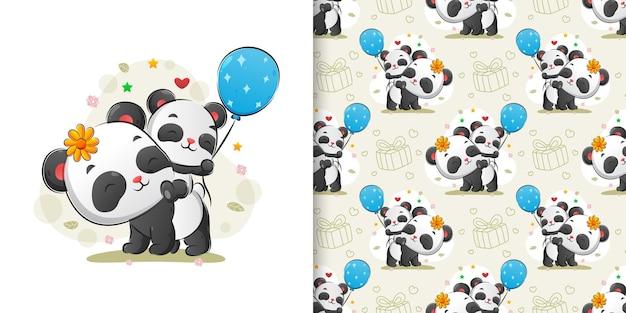 Wzór przedstawiający pandę niosącą małą pandę trzymającą balony z tyłu ciała