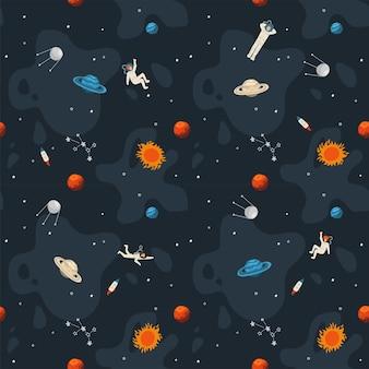 Wzór przestrzeni. ładny szablon z astronautą, rakietą, saturnem, planetami, gwiazdami w kosmosie. ręcznie rysowane płaskie.