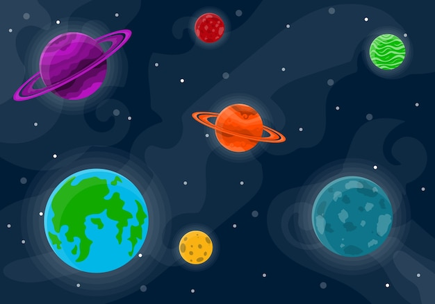 Wzór przestrzeni z planetami i gwiazdami