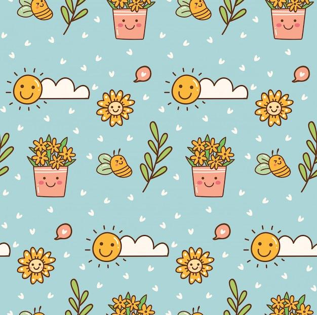 Wzór przyrody ze słonecznikiem