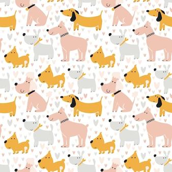 Wzór psów. ładny nadruk bez szwu. tło do druku na tkaninie, papierze cyfrowym. uniwersalna konstrukcja do ozdabiania albumów ze zdjęciami dla dzieci, imprez tematycznych. ilustracja wektorowa, ręcznie rysowane