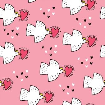 Wzór ptaki i serca