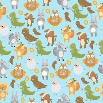 Wzór ptaków i zwierząt