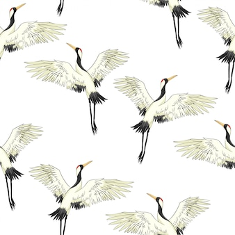 Wzór ptaków żurawia