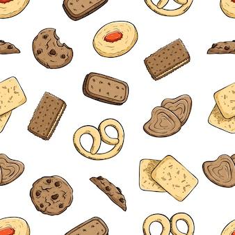 Wzór pyszne ciasteczka lub ciasteczka z kolorowym stylu doodle