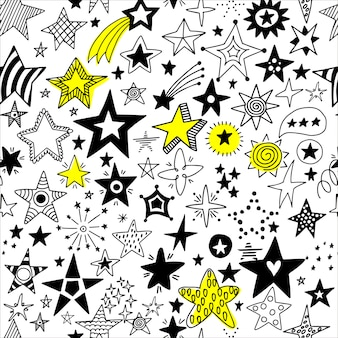 Wzór ręcznie rysowane gwiazd.