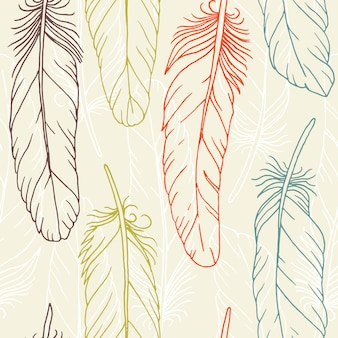 Wzór ręcznie rysowane piór