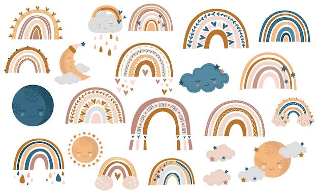 Wzór ręcznie rysowane tęczy jesienią, chmury i krople deszczu w kolorach miodu, żółtym i brązowym na białym tle