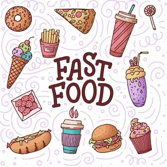 Wzór. rocznik ilustracja z fasta food doodle elementami i literowanie na tle dla pojęcia