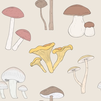 Wzór różnych grzybów. ręcznie rysowane grzyby. armillaria, blewity, borowiki, kurki. kolorowy wzór ilustracji.
