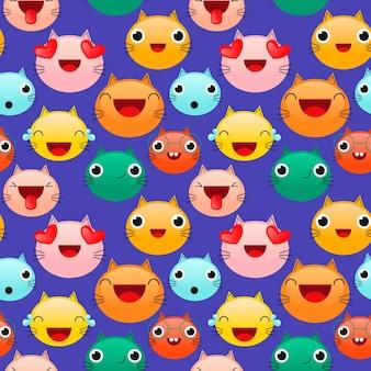 Wzór różnych kolorowych emotikonów