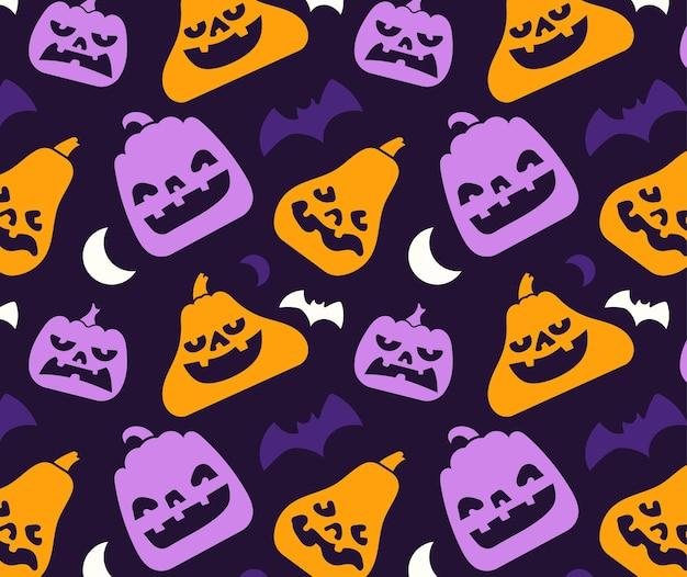 Wzór różnych sylwetka dyni z elementem twarzy i halloween.