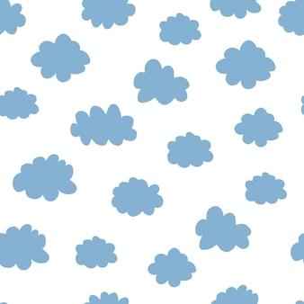 Wzór różowe i niebieskie chmury. zaprojektuj dziecko ilustracja do tkanin, tapet, towarów dla dzieci na białym tle.