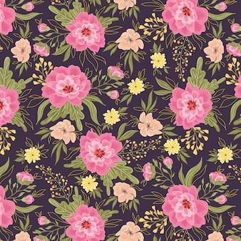 Wzór różowe i żółte kwiaty
