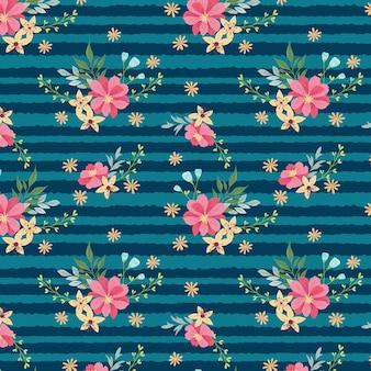 Wzór różowe kwiaty i paski