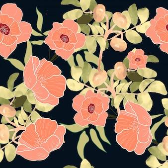Wzór różowy kwiat kwiatowy gałąź