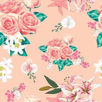 Wzór różowy pastelowych kwiatów róży.