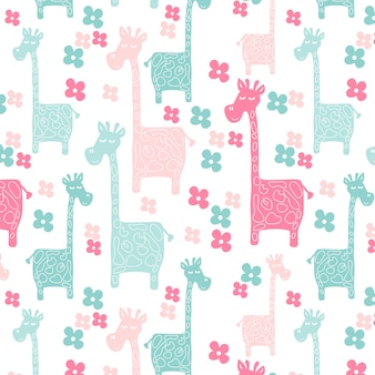 Wzór różowy żyrafy
