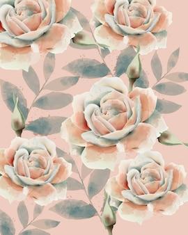 Wzór róży i liści. akwarela. vintage design. pastelowe kolory